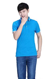 白色Polo衫纤维丝光短袖T恤