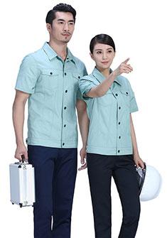 灰色商务夏季涤棉细斜短袖工作服