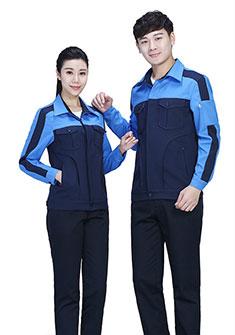 深蓝色纯棉夏季长袖工作服